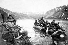 German Gebirgsjäger troops crossing a lake on rubber rafts near Narvik, Norway, 1940 Narvik, German Soldiers Ww2, German Army, Germany Ww2, Fjord, Second World, Military History, Rafting, World War Ii