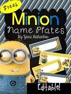 Free Editable Name Tags Minions from SeaofKnowledge on TeachersNotebook.com (7 pages) - Free Minion Editable Name Tags: These name tags are ideal for using at the beginning of the year, on field trips and when substitute teachers are in the room. Additionally, they are great as labels to