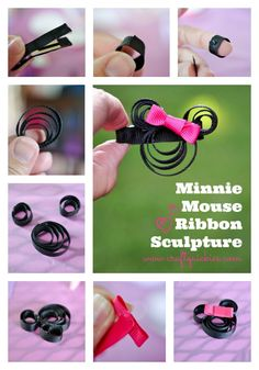 Make a simple Minnie Mouse Ribbon Sculpture in a flash for yourself or your little lady ~glue onto a barrette or headband for Disney Hair Ribbons, Diy Hair Bows, Diy Bow, Diy Ribbon, Ribbon Hair, Bow Hair Clips, Hair Barrettes, Ribbon Bows, Hairbows