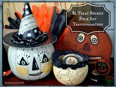 *Rook No. 17: recipes, crafts & whimsies for spreading joy*: Make a Halloween Folk Art Candy Container from a $1 Blown Plastic Pumpkin