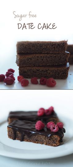 Sugar-free date cake - moist and delicious for a healthy dessert. Try also with chocolate ganache and rasberries for even more yum! #datecake #sugarfree #healthydessert #nowhiteflour