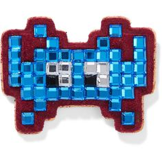 Anya Hindmarch Space Invader crystal-embellished suede sticker ($48) ❤ liked on Polyvore featuring accessories, blue and anya hindmarch