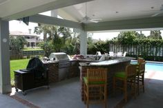 Covered Outdoor Kitchens | calfee outdoor kitchen addition covered custom kitchen