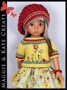 """** Yellow & Red ** Outfit for Little Darlings Effner 13"""" by Maggie & Kate Create"""