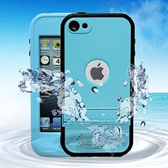 awesome Comsoon(TM) Waterproof Case for Apple iPod Touch 5th Generation Waterproof Heavy Duty Defender iPod Touch 5 Case, iPod 5 Cases For Boys Girls Kids, Built-in Touch Screen Protector for Better Shockproof Dirtproof Snowproof Dustproof Sweatproof, Kickstand for Viewing Hands Free (Blue)