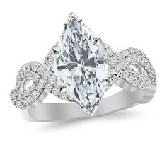 1.73 Carat t.w. Twisting Double Row Eternity Split Shank Diamond Engagement Ring with a 1 Ct Forever Classic Marquise Moissanite Center -- Find out more about the great product at the image link.