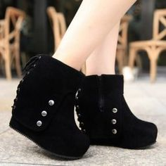 Fashionable Women's Short Boots With Rivets and Flock Design (BLACK,37) | Sammydress.com Mobile