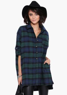 Over sized Plaid Shirt in Hunter green | Necessary Clothing