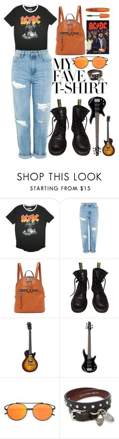 """""""AC DC"""" by puljarevic ❤ liked on Polyvore featuring AC/DC, Topshop, Splendid, Dr. Martens, Alexander McQueen and MyFaveTshirt"""