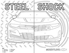 You've been outnumbered. In a good way. Follow the color key and share your #ChevyLove Camaro Special Edition masterpiece. Chevrolet Camaro, Chevy, Coloring Pages For Kids, Coloring Books, School Design, Lamborghini, Boys, Art Production, Vintage Coloring Books