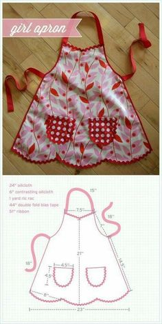 Sweetest little girl's apron - Best Sewing Tips Sewing Hacks, Sewing Tutorials, Sewing Crafts, Sewing Projects, Sewing Aprons, Sewing Clothes, Sewing For Kids, Baby Sewing, Childrens Aprons