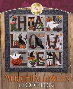 Merrie Halloween Kit in COTTON - Pre-fused/Laser-Cut: Get your home ready for Halloween with this adorably spooky Merrie Halloween Quilt designed by Buttermilk Basin! This quilt features pumpkins, crows, owls