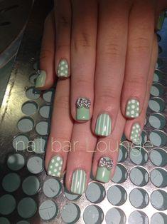 Crystal Bows & Sage #nailart #nails #naildesign
