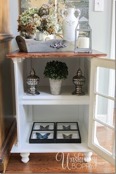 The five best tips on how to quickly decorate a bookshelf, end table or nightstand.  It's simple!