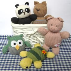 Squidgy Friends toy animal knitting patterns, easy for beginners, including owl, pig, rabbit, cat, turtle, and panda.  From fluff and fuzz on Folksy