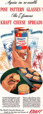 Kraft Cheese Spreads SWANKY SWIGS Posy Pattern Glasses 1947