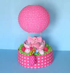 Hot Air Balloon Diaper Cake by PamperedBabyCreation on Etsy