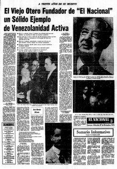 20 años de la muerte de Henrique Otero Vizcarrondo. Publicado el 27 de diciembre de 1972.