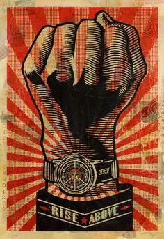 Shepard Fairey - Street Art - Poster - Rise Above Fist Protest Posters, Protest Art, Art Obey, Shepard Fairy, Illustrations, Illustration Art, Shepard Fairey Obey, Shepard Fairey Artwork, Propaganda Art