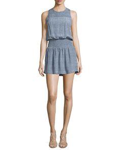 Kiernan+Tile-Print+Silk+Dress,+Faded+Sky+by+Joie+at+Neiman+Marcus.