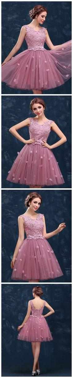 MODEST A-LINE V-NECK HOMECOMING DRESS PINK CHEAP CHIC SHORT PROM DRESS AM095