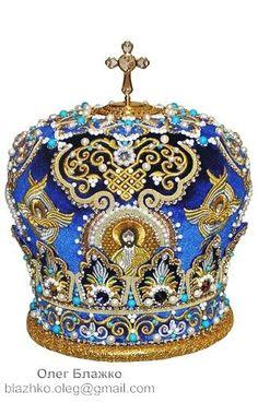 Orthodox mitre (bishop`s crown) - Blazhko Oleg: Goldwork Royal Crown Jewels, Royal Crowns, Royal Tiaras, Royal Jewelry, Tiaras And Crowns, Jewellery, Circlet, Gold Work, Hair Ornaments