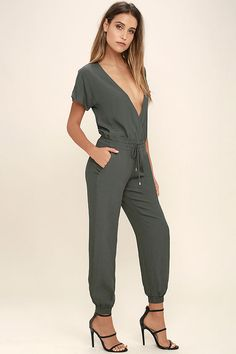 75681cfa8aa Add some attitude to your ensemble by simply slipping on the Sassy Lady  Charcoal Grey Jumpsuit