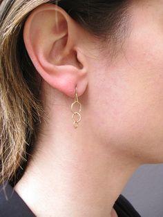 Tiny Wabi Sabi Dangle Earrings - 14 karat yellow gold Sharon Z jewelry by Sharon Zimmerman - shown on ear