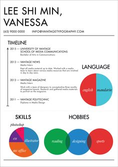 Colour play. Who ever said a resume had to be purely text? Developed your resume today to be more informative and colourful! #resume #resumeideas #resumetemplate #resumedesign #resumewriting #vantagetypography