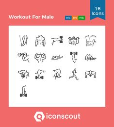 Workout For Male Icon Pack - 16 Line Icons Male Icon, Different Exercises, Png Icons, Icon Collection, Icon Pack, Icon Font, Gym Workouts, Icon Design, Packing