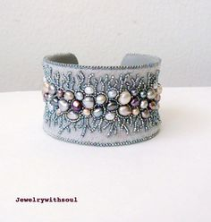Bead embroidery cuff bracelet with freshwater pearls in grey gray silver peacock, mauve and cream white - Winter lace