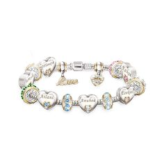 Personalize this bracelet for Mom with up to 6 engraved names and matching crystal birthstones. Plated with sterling silver and 24K gold. Gift box.