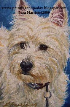 5x7 Westie West Highland Terrier Dog Fine Art Giclee Print by LARA. $14.95, via Etsy.