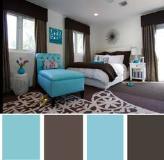 Blue With Brown    Pale blue and chocolate brown were a ubiquitous color combination for interior furnishings a few years back, and I'd argue that turquoise blue is the updated tweak to the popular duo. This room has a lovely retro-yet-modern vibe to it.