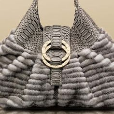 Bulgari Chandra metallic grey mink steel grey soft matt python shoulder bag 2