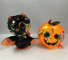 "2019 Ty Beanie Baby Halloween Halloweenies SEEDS /& OMEN Flippables 3/"" size"