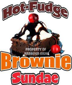 "Hot Fudge Brownie Sundae Decal 24"" Ice Cream Concession Restaurant Food Truck #HarbourSigns"