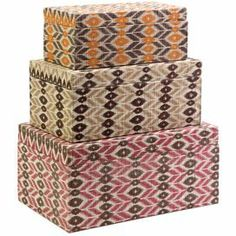 """Set of three patterned boxes with tribal motifs. Product:  Small, medium, and large box  Construction Material:  Printed woven mendong, hard carton, and sponge cotton    Color: Multi    Features: Great for storage and organization    Dimensions: Small: 4.75"""" H x 12"""" W x 6"""" D  Medium: 6"""" H x 13.75 W x 8"""" DLarge: 7.25"""" H x 15.75 W x 10"""" D"""