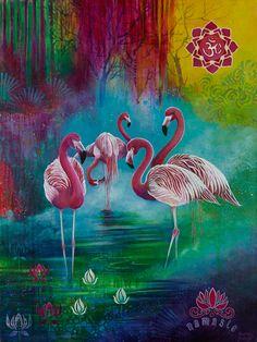 """Flamingo Namaste"" – Susan Farrell Art"