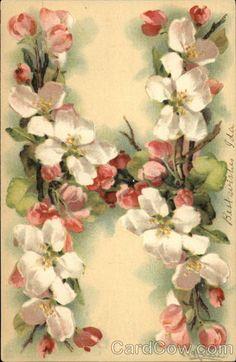 """H"" Vintage Floral Postcard by Catherine Klein"