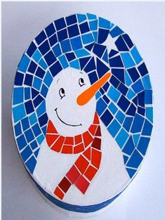 This Snowy Night Mosaic can easily be displayed all season for fun winter decor. Snowman crafts make the magic of the season last all winter, so don't delay! Try this simple snowman craft today! Paper Mosaic, Mosaic Crafts, Mosaic Projects, Mosaic Art, Christmas Mosaics, Christmas Art, Snowman Crafts, Christmas Crafts, Paint Chip Cards