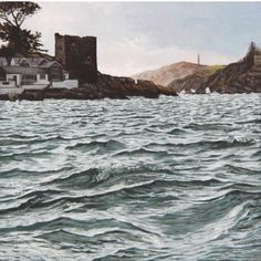 Choppy Sea & the Block House - Painting by Nick J Williams