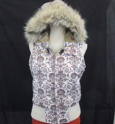 3eaa18c00ab Aeropostale Medium Puffer Hooded Vest Removable Faux Fur Down White Brown  EUC  Aeropostale  PuffyVest