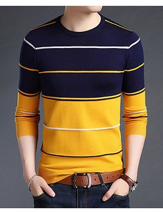 2018 New Fashion Brand Sweater Mens Pullover Striped Slim Fit Jumpers Knitred Woolen Autumn Korean Style Casual Men Clothes Male Sweaters, Casual Sweaters, Sweaters Knitted, Cardigan Sweaters, Winter Sweaters, Mens Turtleneck, Men Sweater, Gold Sweater, Crewneck Sweater