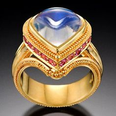 Moonstone Drop Ring by Kent Raible / Moonstone, Pink Sapphire, Tanzinite, 18K Gold / Sold