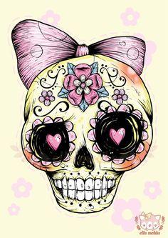 A4 Print of a Yellow Sugar Skull Illustration by ellamobbs on Etsy, $20.00