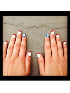 A patriotic twist on a classic French manicure, Samantha's nails look neat and stylish.   - Seventeen.com