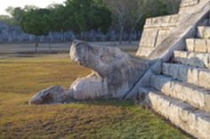 Serpent head at the base of the staircase, Temple of K'uk'ulkan, Chichen Itza. (Image credit: Bryan Mendez, UC Berkeley)