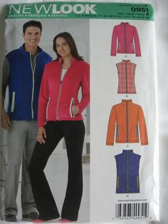 New Look by Simplicity Misses Mens Fleece Jacket and by Vntgfindz New Look Patterns, Simplicity Patterns, Mens Fleece Jacket, Vest Pattern, Blazer, Sewing, Jackets, Etsy, Fashion