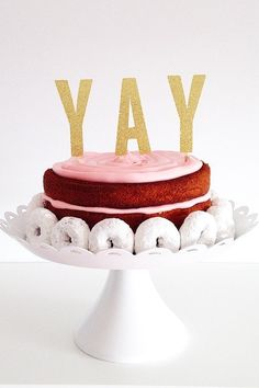 Exclaim your joy in a playful way with this glittery cake topper, perfect for adding some sparkle to basic confections. Birthday Cake Toppers, Wedding Cake Toppers, Wedding Cakes, Birthday Cakes, Happy Birthday, Bolo Cake, Donut Decorations, A Little Party, Glitter Cake